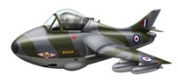Cartoon illustration of a Royal Air Force Hawker Hunter F6 Fine Art Print