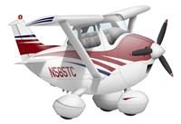 Cartoon illustration of a Cessna 182 aeroplane Fine Art Print