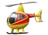 Cartoon illustration of a Robinson R44 Raven helicopter Fine Art Print