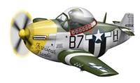 Cartoon illustration of a P-51 Mustang Fine Art Print