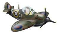 Cartoon illustration of a Royal Air Force Supermarine Spitfire Fine Art Print