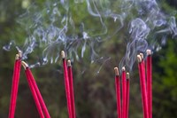 Incense Burning in the Temple, Luding, Sichuan, China Fine Art Print