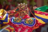 Mask Dance Celebrating Tshechu Festival at Wangdue Phodrang Dzong, Wangdi, Bhutan by Keren Su - various sizes