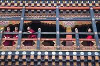 Monks in the Kichu Lhakhang Dzong, Paro, Bhutan Fine Art Print