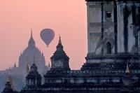 Hot Air balloon over the temple complex of Pagan at dawn, Burma Fine Art Print