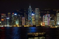 Hong Kong, Victoria Harbor, city skyline Fine Art Print