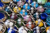 Morocco, Casablanca, market, Ceramic tea pots Fine Art Print