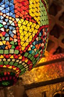 Lamp in antique shop, Marrakech, Morocco Fine Art Print