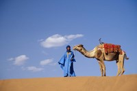 Man leading camel on sand dunes, Tinfou (near Zagora), Morocco, Africa Fine Art Print