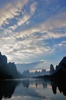 Li River and Karst Peaks at sunrise, China Fine Art Print