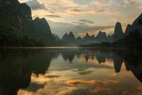 Li River and karst peaks at sunrise, Guilin, China Fine Art Print