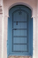 Moorish-styled Blue Door and Whitewashed Home, Morocco Fine Art Print