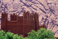 Kasbah and Unique Rock Formation, Morocco Fine Art Print