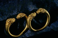 Horned Lion Head Bracelets, Gold Artifacts From Tillya Tepe Find, Six Tombs of Bactrian Nomads Fine Art Print