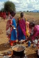 Maasai Women Cooking for Wedding Feast, Amboseli, Kenya Fine Art Print