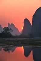 Karst Hills Along the River Bank, Li River, Yangshuo, Guangxi, China Fine Art Print
