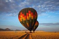 Launching hot air balloons, Namib Desert, near Sesriem, Namibia Fine Art Print