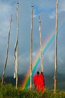 Rainbow and Monks with Praying Flags, Phobjikha Valley, Gangtey Village, Bhutan Fine Art Print