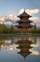 Pagoda in pond, Valley of Jade Dragon Snow Mountain Fine Art Print