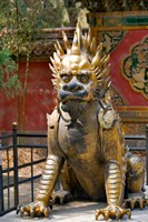 Qing-era guardian lion, Forbidden City, Beijing, China Fine Art Print