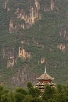 Pagoda and giant karst peak behind, Yangshuo Bridge, China Fine Art Print