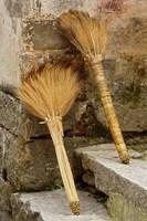 Pair of brooms on steps, Hong Cun Village, Yi County, China Fine Art Print
