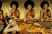 Reclining Buddha, Shwedagon Pagoda, Yangon, Myanmar Fine Art Print