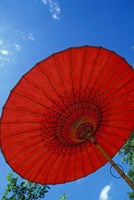 Red Umbrella With Blue Sky, Myanmar Fine Art Print