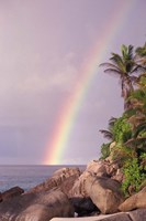 Rainbow over Tropical Beach of Anse Victorin, Seychelles Fine Art Print