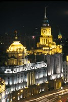 Night View of Colonial Buildings on the Bund, Shanghai, China Fine Art Print