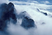 Mountain Peaks in Mist, Mt Huangshan (Yellow Mountain), China by Keren Su - various sizes