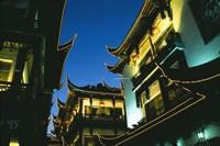 Night View of Traditional Architecture at Yuyuan Bazaar, Shanghai, China Fine Art Print