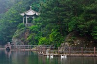 Pavilion with lake in the mountain, Tiantai Mountain, Zhejiang Province, China Fine Art Print