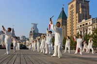 People practicing Taiji with sword on the Bund in the morning, Shanghai, China by Keren Su - various sizes - $45.99