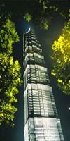 Jinmao Building at night, Shanghai, China Fine Art Print