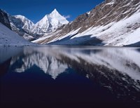 Mount Jichu Drake in Sophu lake, Jigme Dorji NP, Bhutan Fine Art Print
