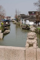 Stone lion on bridge, Zhujiajiao, Shanghai, China Fine Art Print
