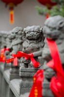 Stone lions with red ribbon, Jade Buddah Temple, Shanghai, China by Cindy Miller Hopkins - various sizes