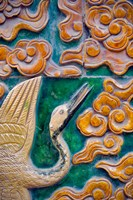 Tile mural of swans and clouds in Forbidden City, Beijing, China Fine Art Print