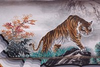Tiger Painting on Outdoor Corridors, Zhongshan Park, Beijing, China Fine Art Print