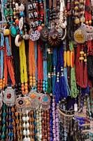 Souvenir necklaces at market in Luxor, Egypt Fine Art Print
