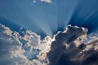 Sunbeams streaking through clouds, Masai Mara, Kenya Fine Art Print