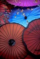 Souvenir parasols for sale at a market, Rangoon, Burma Fine Art Print