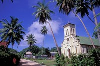 St Mary's Church and Palm Trees, Seychelles Fine Art Print