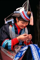Tip-Top Miao Girl Doing Traditional Embroidery, China by Keren Su - various sizes