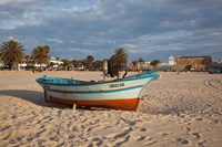 Tunisia, Hammamet, Kasbah Fort, Fishing boats Fine Art Print