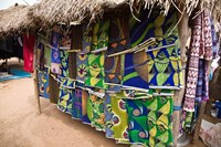 West Africa, Benin, Textiles in thatched market Fine Art Print