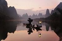 Traditional Chinese Fisherman with Cormorants, Li River, Guilin, China Fine Art Print