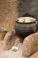 West Africa, Ghana, Nakpa. Pot on stove, mud dwelling Fine Art Print