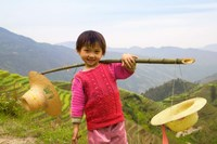 Young Girl Carrying Shoulder Pole with Straw Hats, China Fine Art Print